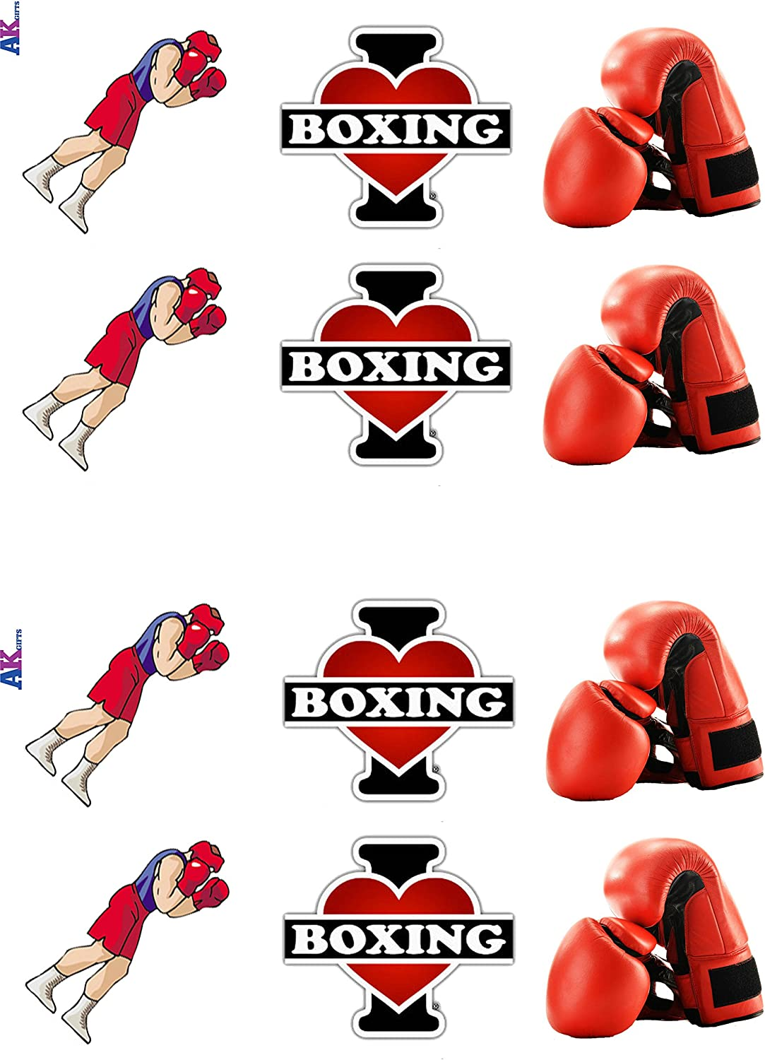 /12/commestibile wafer cake Toppers stand Up sagome I Love Boxing mix/