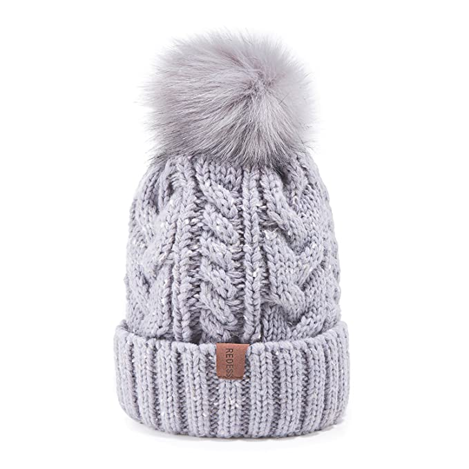 db9ff4fc5 REDESS Women Winter Pom Pom Beanie Hat with Warm Fleece Lined, Thick  Slouchy Snow Knit Skull Ski Cap