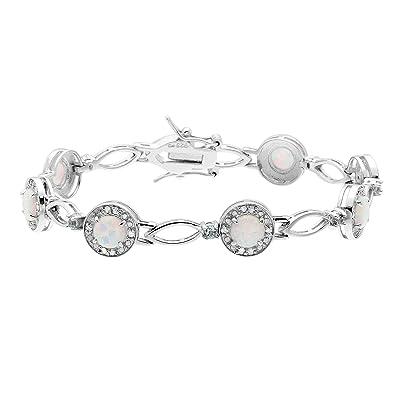 9f71ef3fe1bde Amazon.com: JewelExclusive Sterling Silver .25 CTTW diamond 7.5in ...