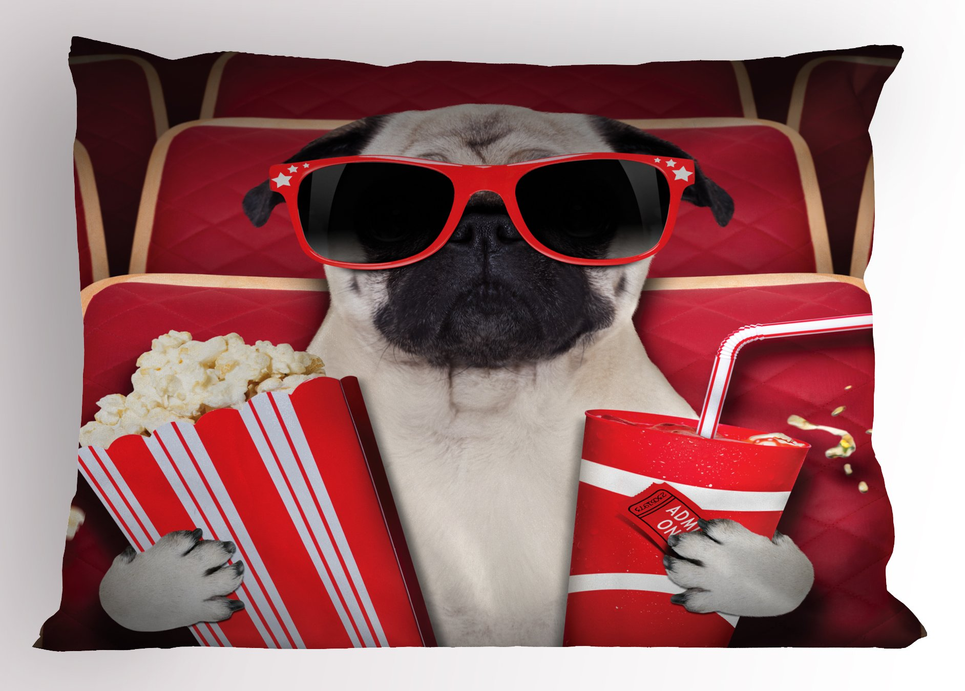 Ambesonne Pug Pillow Sham, Funny Dog Watching Movie Popcorn Soft Drink and Glasses Animal Photograph Print, Decorative Standard Size Printed Pillowcase, 26 X 20 Inches, Red Cream Ruby
