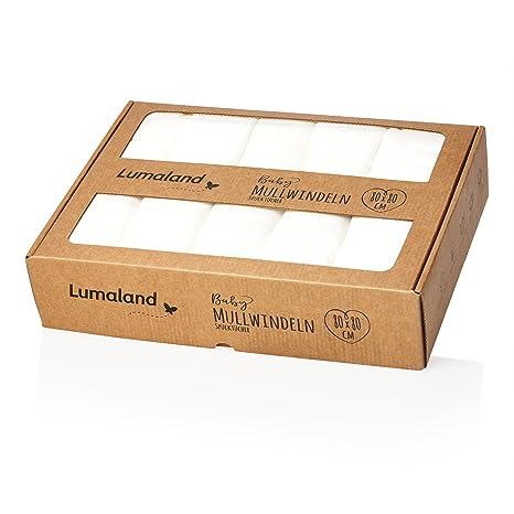 Lumaland Gasas- Paños para Bebé. 10 u 80 x 80 cm. 100% algodón suave sin químicos.blanco