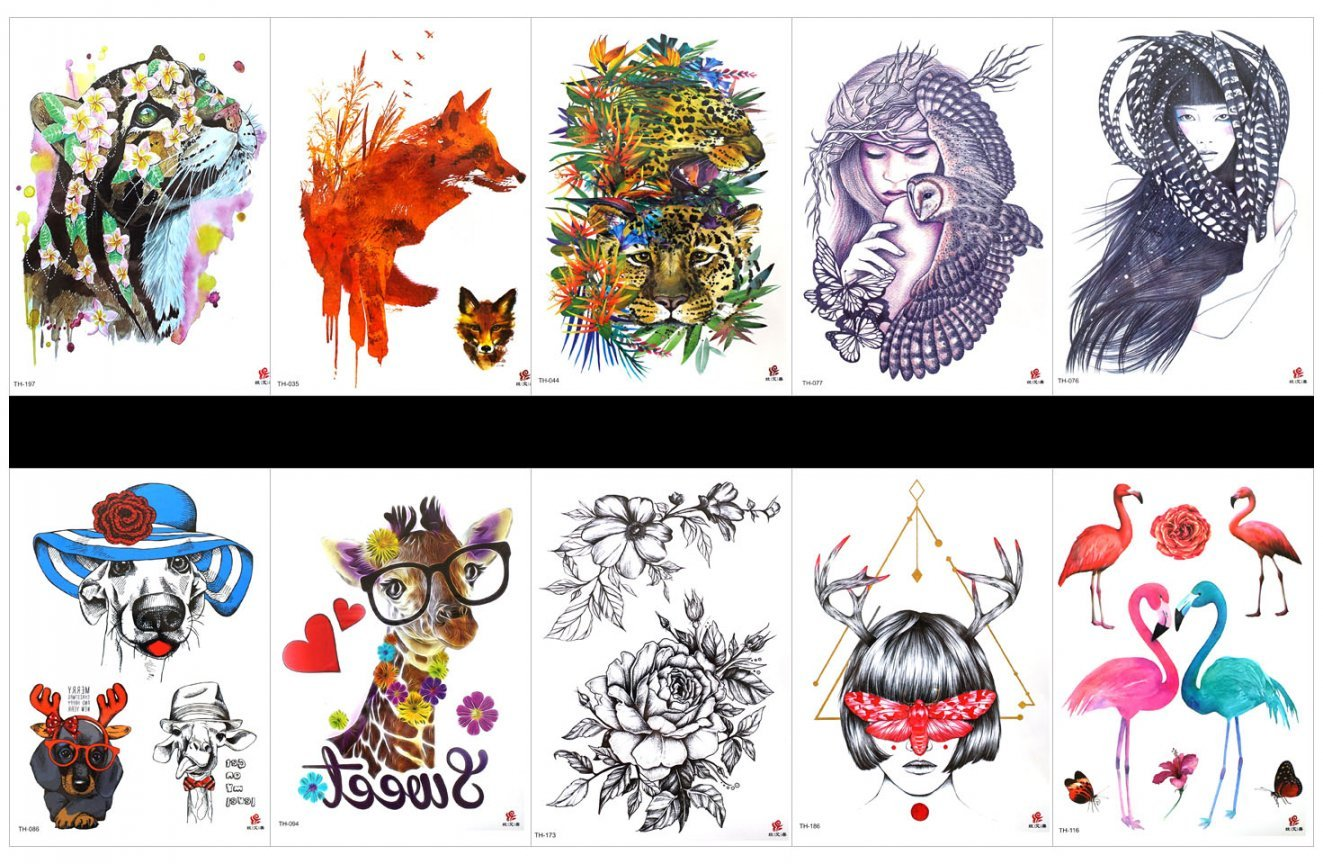 SPESTYLE 10pcs tattoo dog tattoos waterproof and non toxic real fake tattoos in 1 packages,including rose,women,crane,etc.