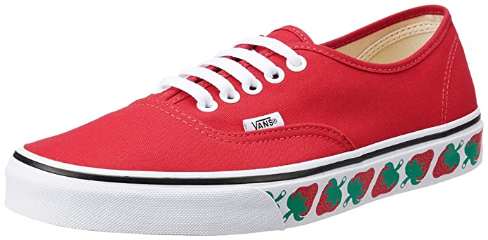 Vans Authentic Sneakers Damen Rot mit Erdbeer Sidewall (Strawberry Tape)