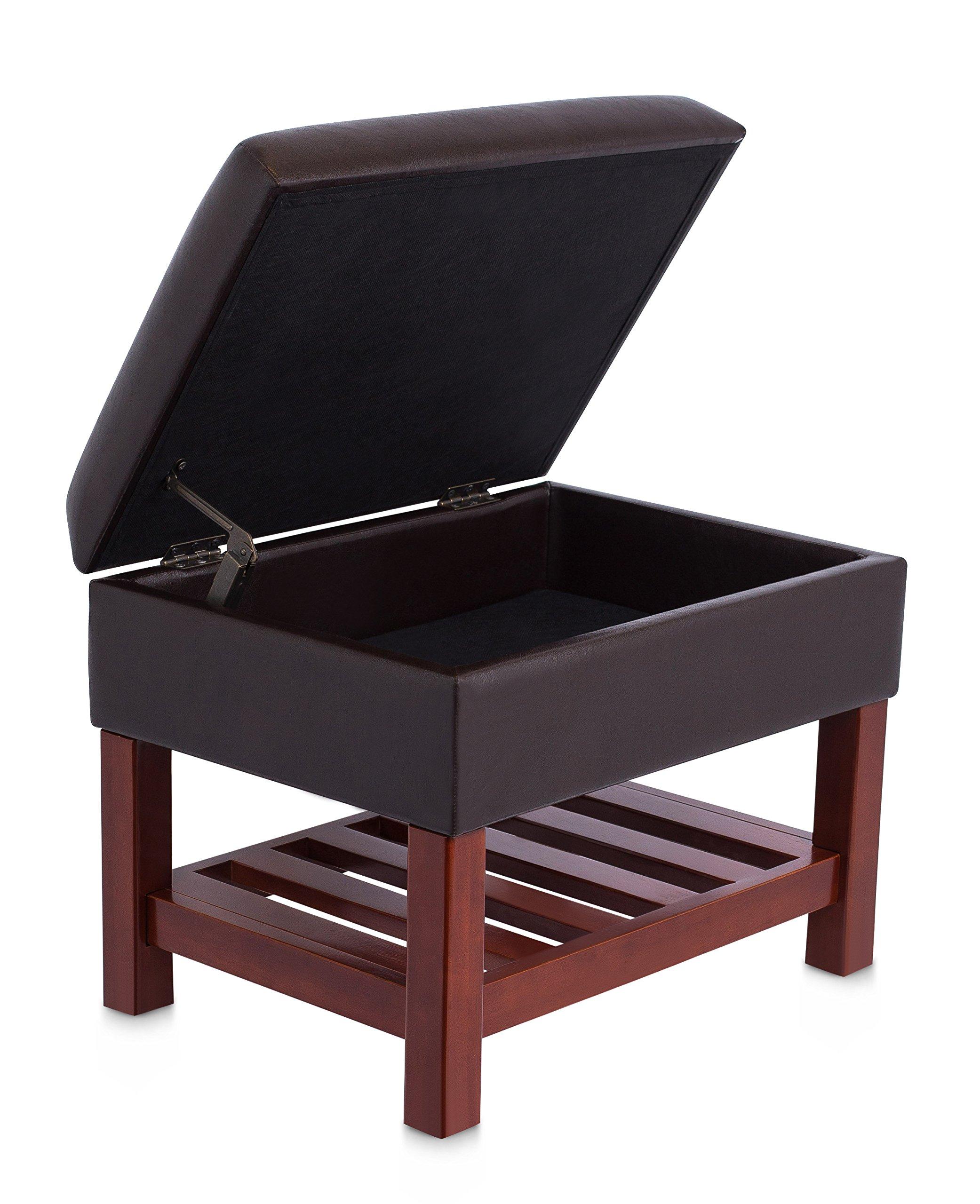BirdRock Home Upholstered Storage Stool Ottoman | Faux Leather Padded Foot Stool | Wooden Storage Shelf Legs | Dark Brown & Walnut
