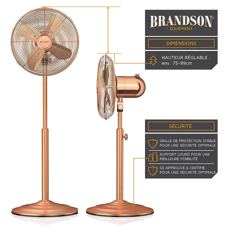 Brandson - Ventilador de pie con Design Retro en cobre | 3 diferentes niveles de velocidad | función de oscilación de aproximadamente 80 ° | inclinable 30 ...