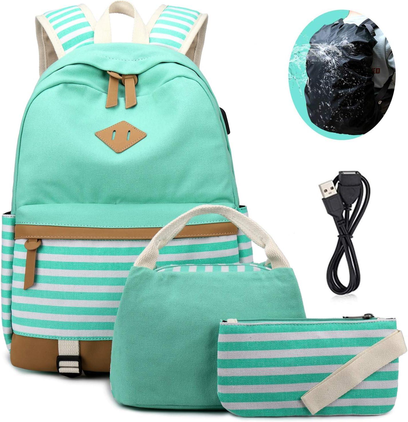 School Backpacks Teen Girls Canvas Backpack 3 in 1 Bookbag Set with Lunch Bag