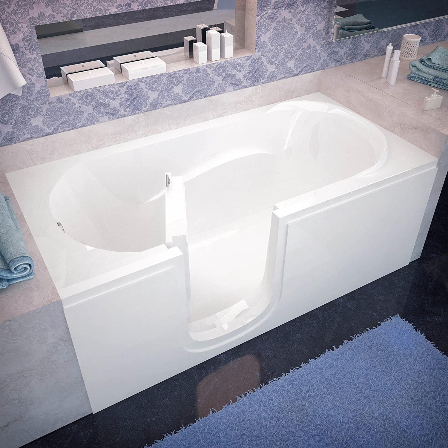 spa world venzi vz3060silws rectangular soaking walk in bathtub 30x60 left drain white amazoncom - Step In Bathtub