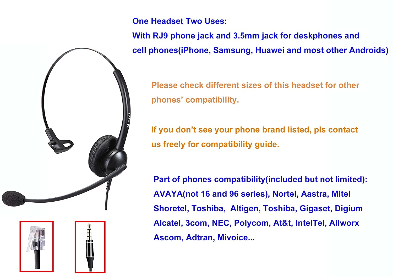 amazon com telephone headset with rj9 jack for phone mono with rh amazon com