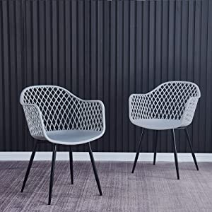 2Krmstr Modern Plastic Dining Chairs Set of 2, Mid-Century Accent Side Chairs Hollow Back, Sturdy Lounge Chairs Patio Furniture Outdoor Leisure Arm Chair for Garden Yard Deck