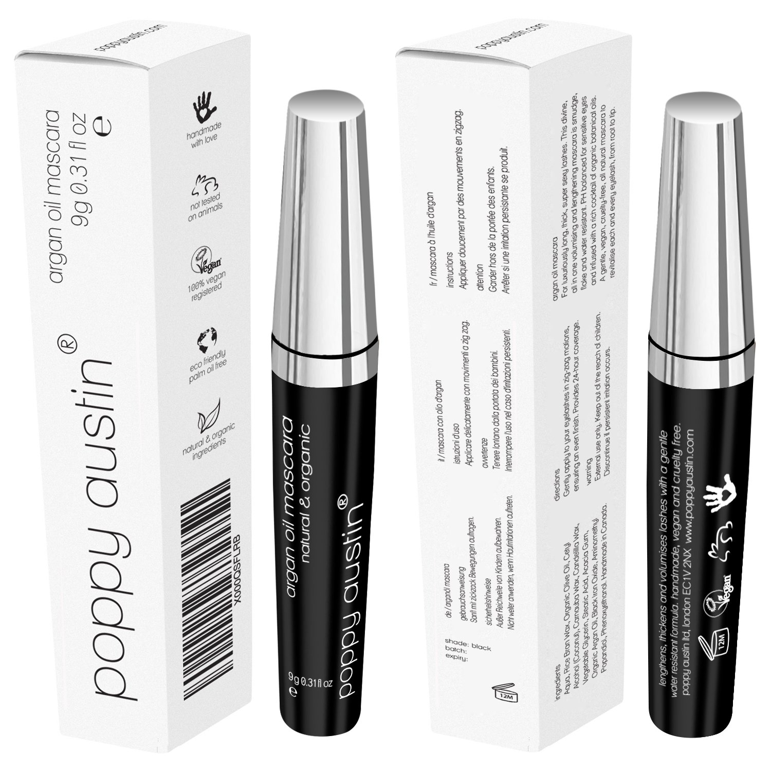 39df7634952 FINEST Vegan & Organic Lengthening Mascara Black With Argan Oil - Cruelty- Free, Best Natural Volumising, Thickening, Smudge Proof, Hypoallergenic, ...
