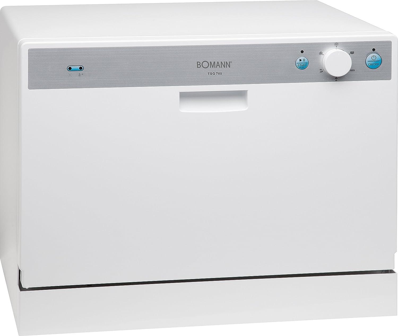 Bomann TSG 705.1 - Lavavajillas pequeño (AA, capacidad para 6 servicios, 55 dB), color blanco