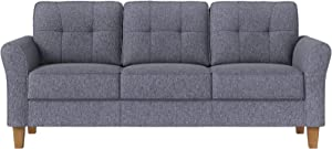 VASAGLE Sofa, Couch for Living Room Classic Upholstered, Soft Surface, for Apartment Small Space Dorm, Solid Wood Frame and Legs, 78 x 31.9 x 34.3 Inches, Gray ULCS100G01