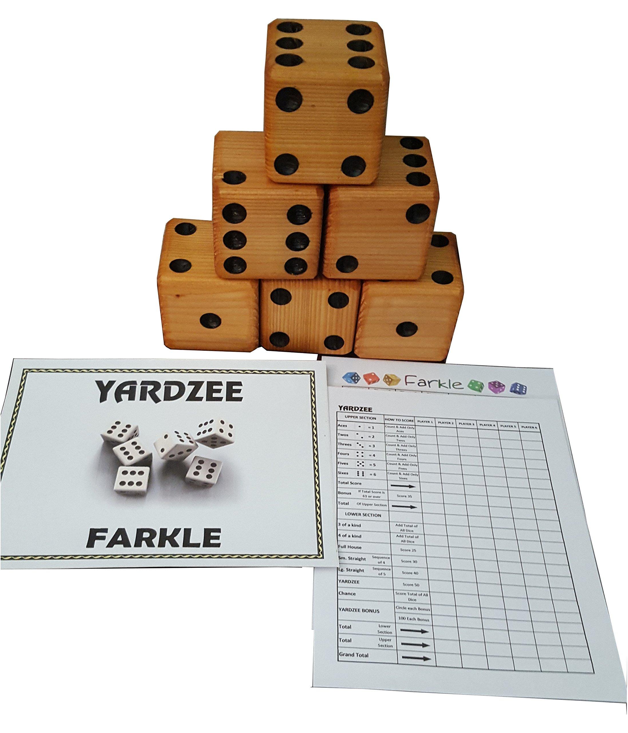 YARDZEE FARKLE Huge Big Giant Outdoor Yard Dice Game Solid Cedar (Bucket Label Only)