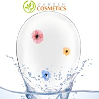 Silicone Make up sponge - Handmade Blending Sponge By Camden Cosmetics With Real Flowers Within : Soft & Safe Blender / Makeup Sponge For Flawless Liquid Foundation Blending – Perfect for BB Cream, Primer, Bronzer, Blush, Concealer & Powder Face Applicator/Application – Unique Tear Drop Shape Make Up Tool (Transparent) - No Waste & Easy to Clean - Comes With Storage Case