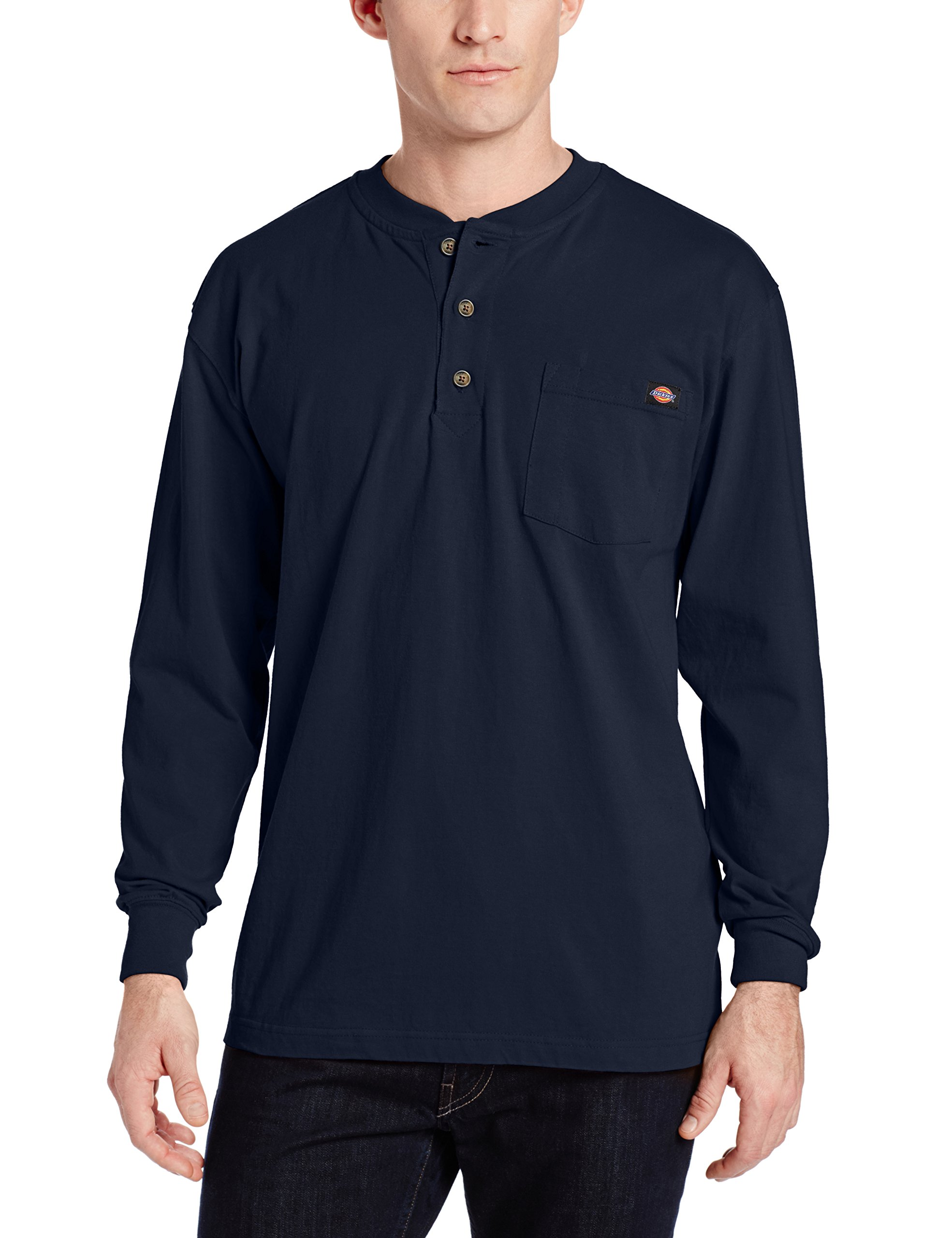 Dickies Men's Long Sleeve Heavyweight Henley, Dark Navy, X-Large