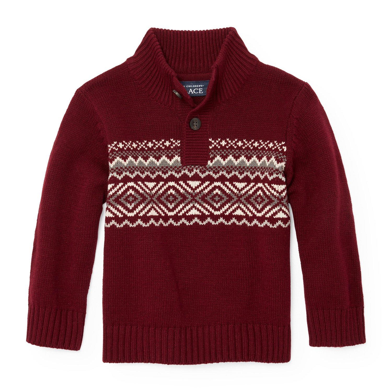 The Children's Place Boys' Fairisle Button Mock Neck Sweater, Redwood 94063, 18-24MONTH