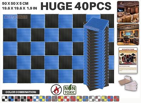 Ace Punch 40 piezas AZUL y NEGRO Cuña Studio Foam Panel Aislamiento Acústico Tratamiento Espuma Acústica
