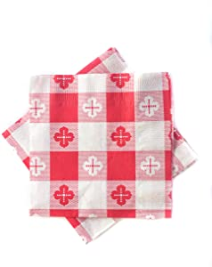 Pack of 250 - Red Gingham Checked Beverage/Cocktail Napkins