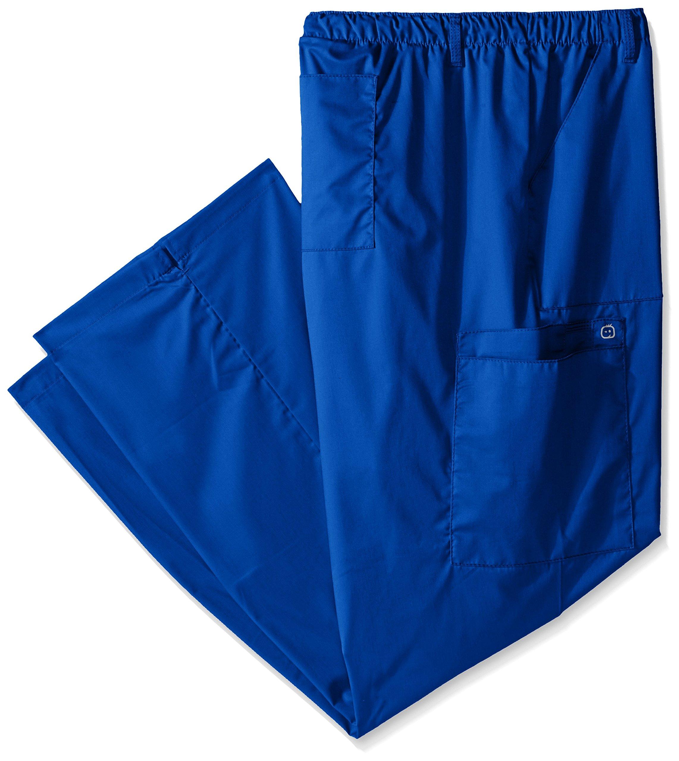WonderWink Women's Plus Size Wonderwork Straight Leg Cargo Scrub Pant, Royal, 3X-Large Tall