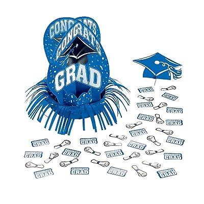 Fun Express - Blue Grad Table Decor Kit (23pc) for Graduation - Party Decor - General Decor - Centerpieces - Graduation - 23 Pieces: Toys & Games