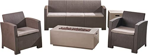 Great Deal Furniture Clay Outdoor 5-Seater Wicker Print Chat Set