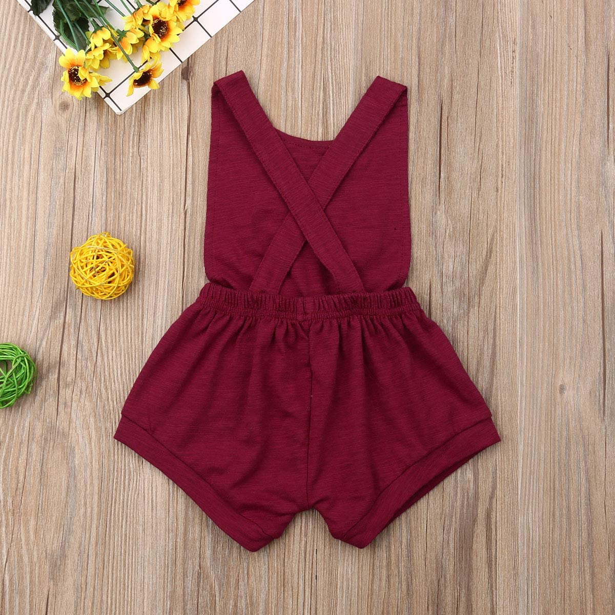 xueliangdedianpu Unisex Baby Summer Overalls Solid Color Soft Cotton One-Piece Rompers Suspenders for Newborn Infant Toddler