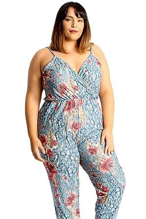 c42b3bb035 Amazon.com  Nouvelle Collection Womens Plus Size Jumpsuit Denim Floral  Print Thin Strap Sleeveless  Clothing