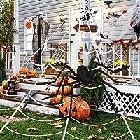 """AERZETIX Giant Halloween Spider Decorations, Outdoor Halloween Decorations, 200"""" Halloween Spider Web + 59"""" Giant Spider…"""