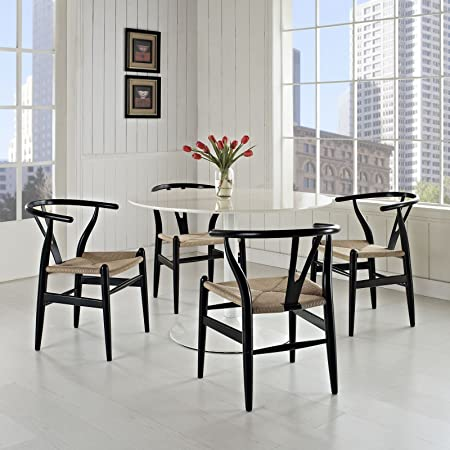 Modway Amish Mid-Century Wood Four Kitchen and Dining Room Chairs in Black