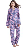 TONY & CANDICE Women's 100% Cotton Long Sleeve Flannel Pajama Set Sleepwear