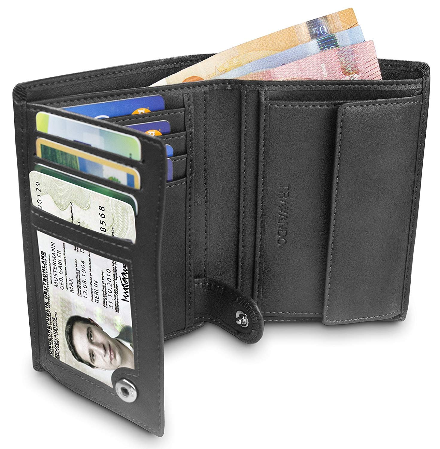 "9a011fb916f1 TRAVANDO ® Mens Wallet Black ""Dublin"" - RFID Blocking - Durable Bifold  Wallet -"
