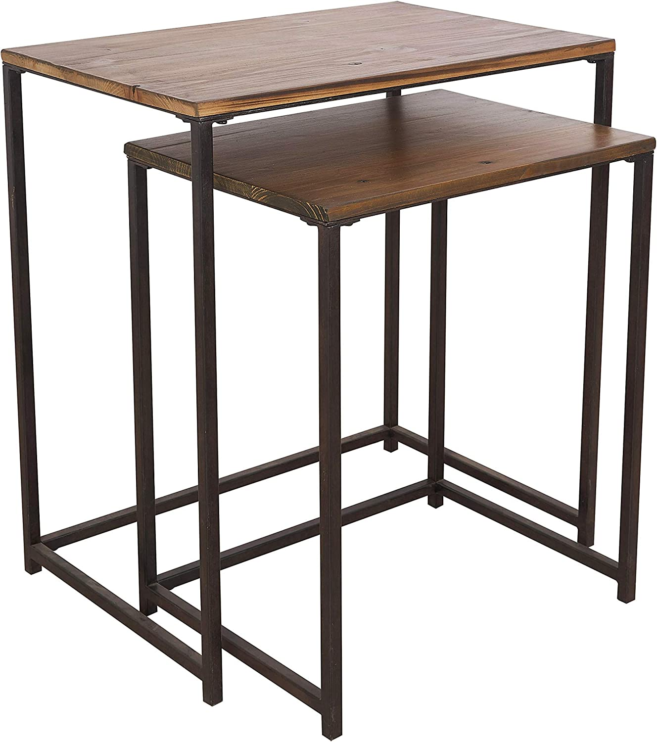 Nesting Table Set of 2, Stackable Coffee Table, Rectangle Side End Table for Living Room Balcony, Metal Frame and Wood Tabletop, Brown