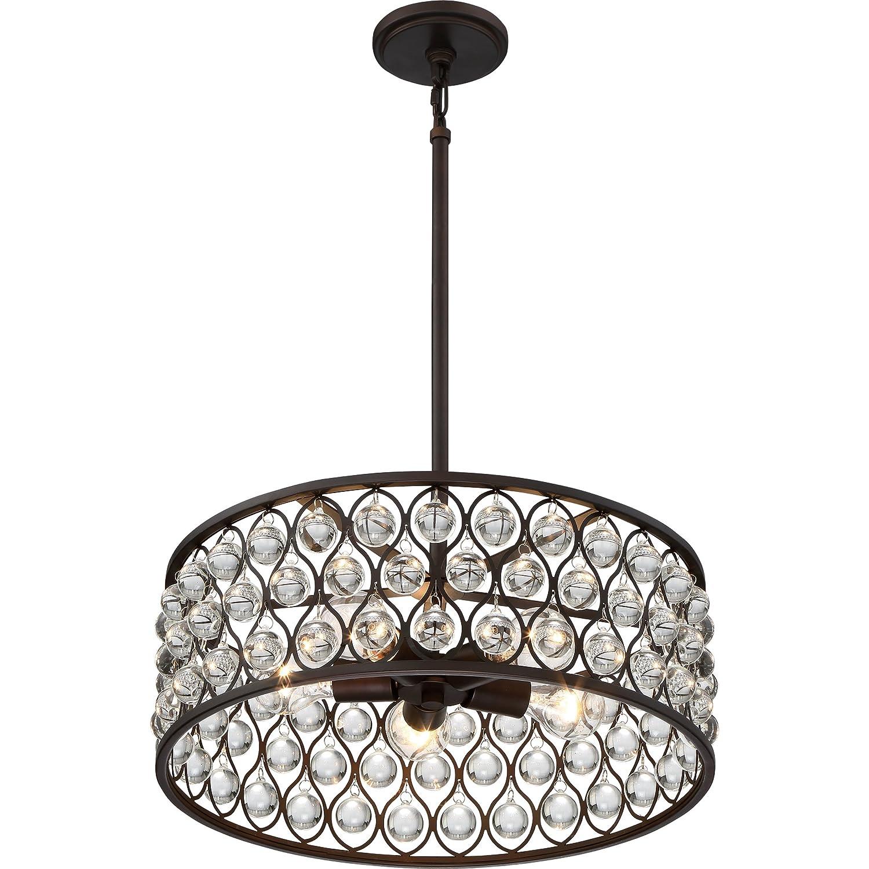 14 H x 26 W 600 Watts 6-Light Palladian Bronze Quoizel AX2826PN Alexandria Crystal Drum Pendant Lighting