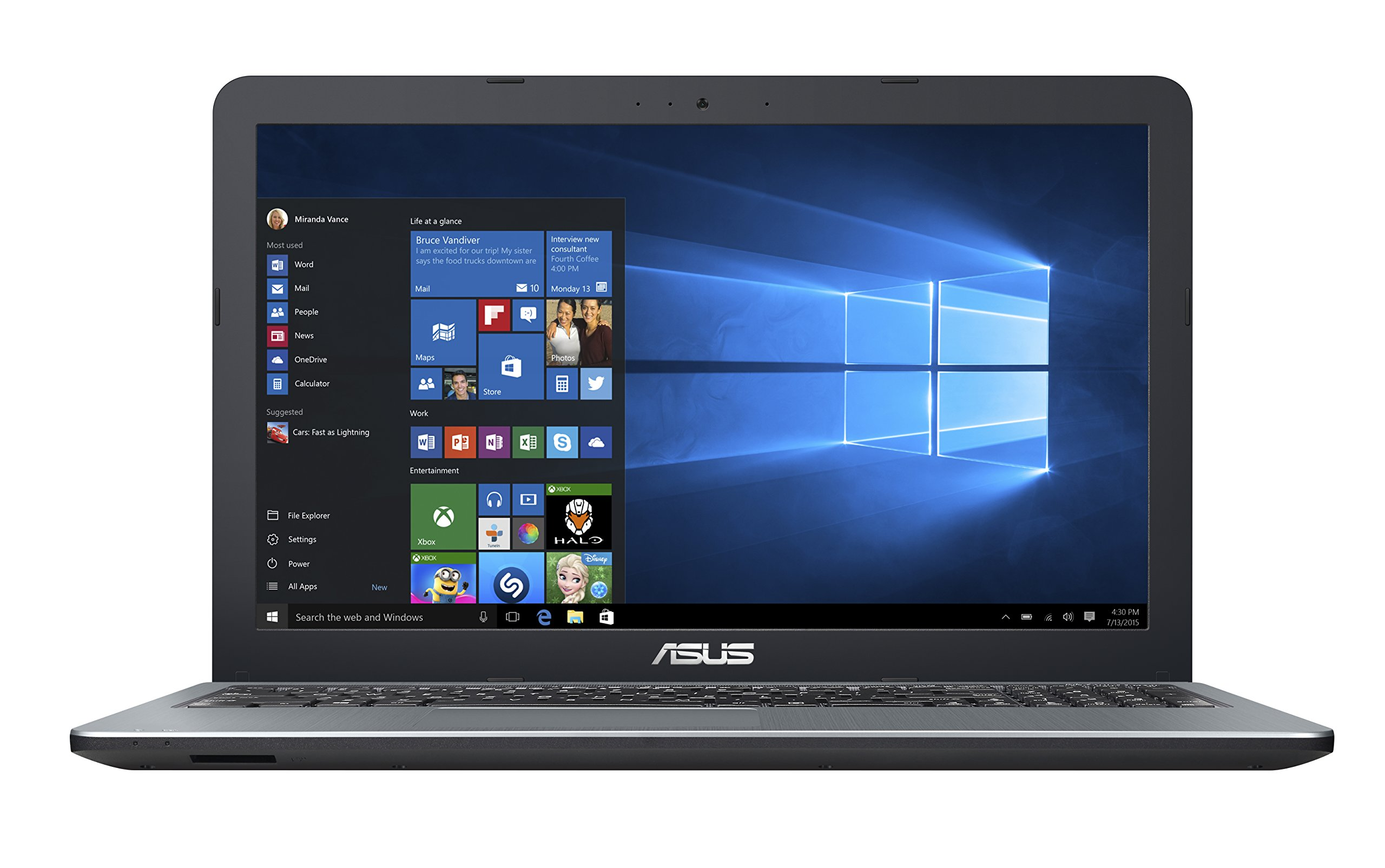 2016 Asus ViviBook 15.6'' High Performance Laptop PC, Intel Pentium N3700, 4GB RAM, 500GB HDD, DVD+/-RW, HDMI, VGA, WIFI, Webcam, Windows 10