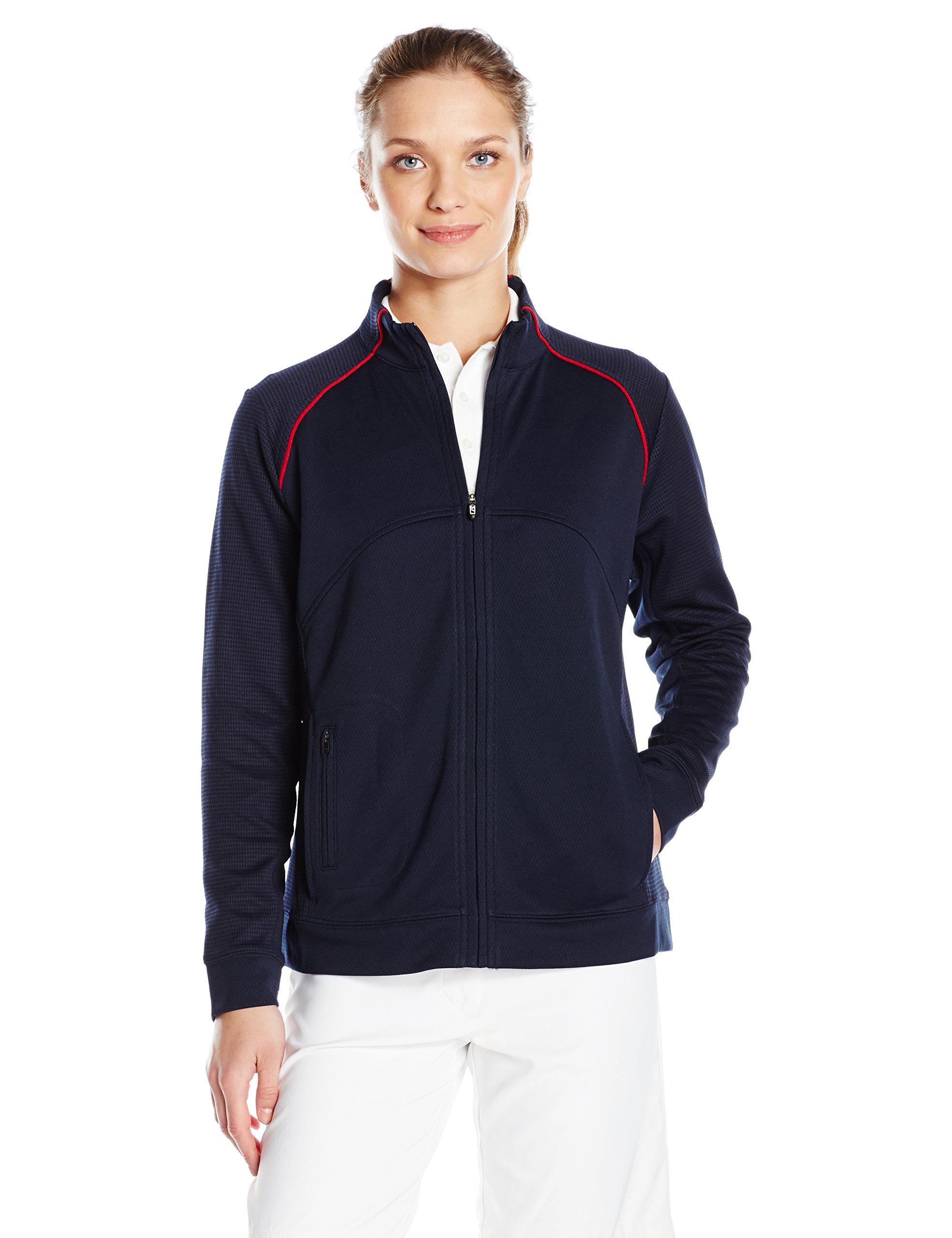 Cutter & Buck Women's Cb Drytec Edge Full Zip, Navy Blue/Cardinal XS