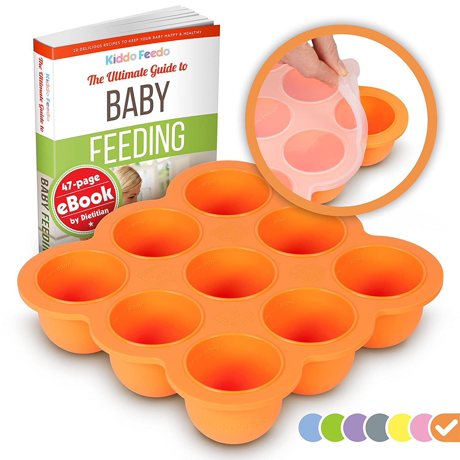 KIDDO FEEDO Baby Food Preparation & Storage Container Tray with Silicone Lid - BPA Free & FDA Approved - FREE E-book by Author/Dietitian - Orange