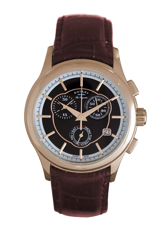 Rotary GS90046/06 - Reloj analógico de Cuarzo para Hombre con Correa de Piel, Color marrón