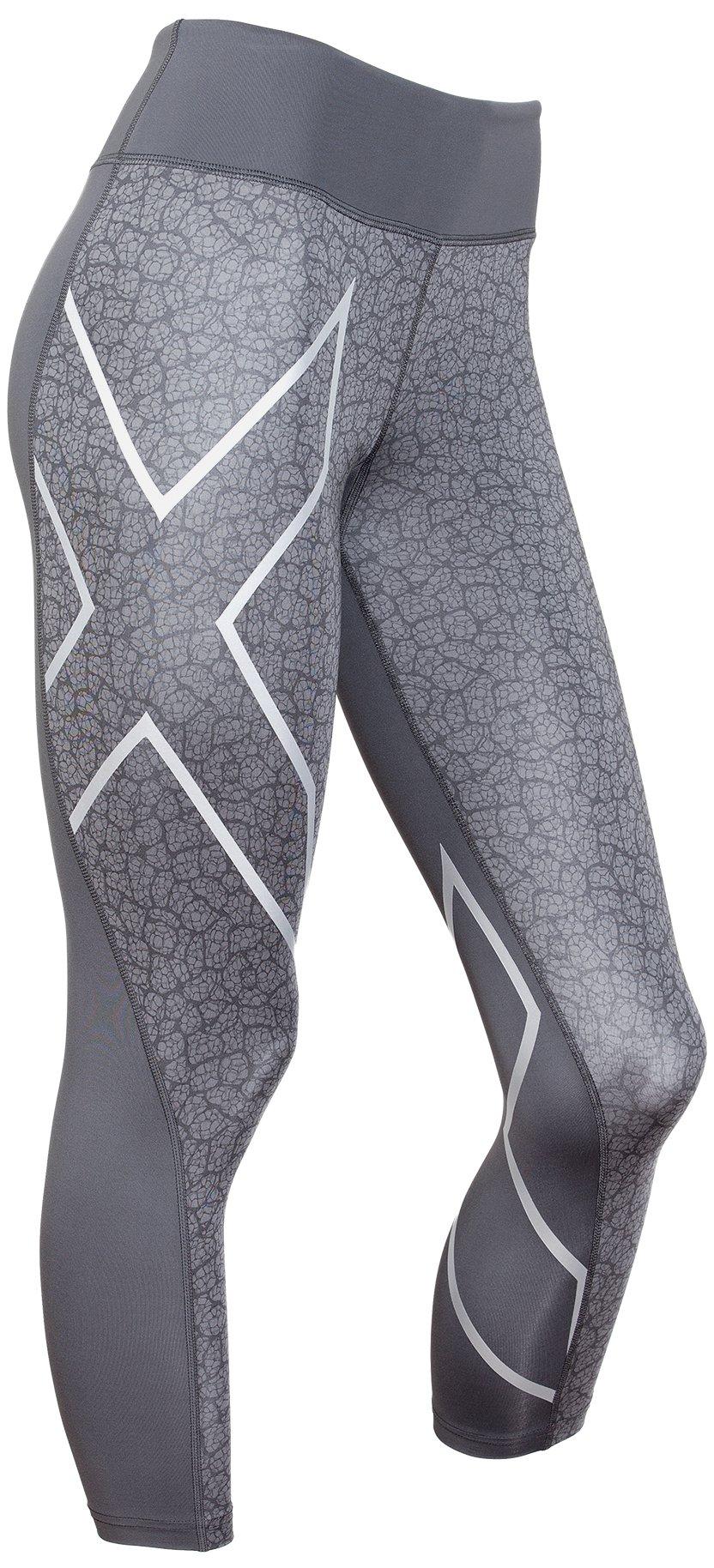 2XU Women's Mid-Rise 7/8 Compression Tights, Dark Slate/Bone Print, X-Small