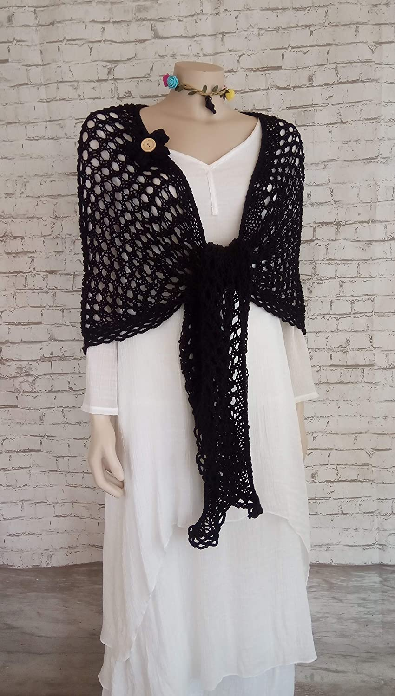Chal de algodón para mujer hecho a mano en color negro: Amazon.es ...