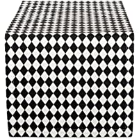 DII Holiday Table Runner, Harlequin Basic, 14x72, Black and Cream