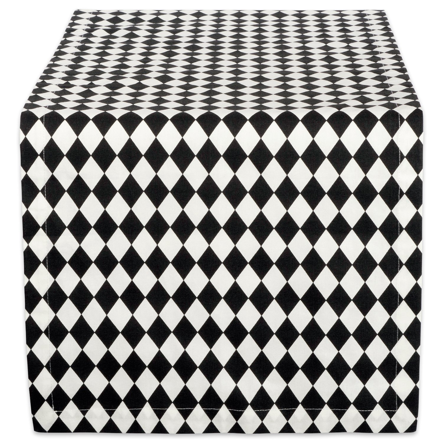 DII 14x108 Cotton Table Runner, Black & Cream Harlequin - Perfect for Halloween, Dinner Parties and Scary Movie Nights