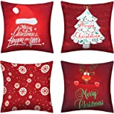 pendali Christmas Throw Pillow Covers, 18x18 Winter Home Outdoor Decorative Pillowcases, Set of 4 Red Polyester Soft…