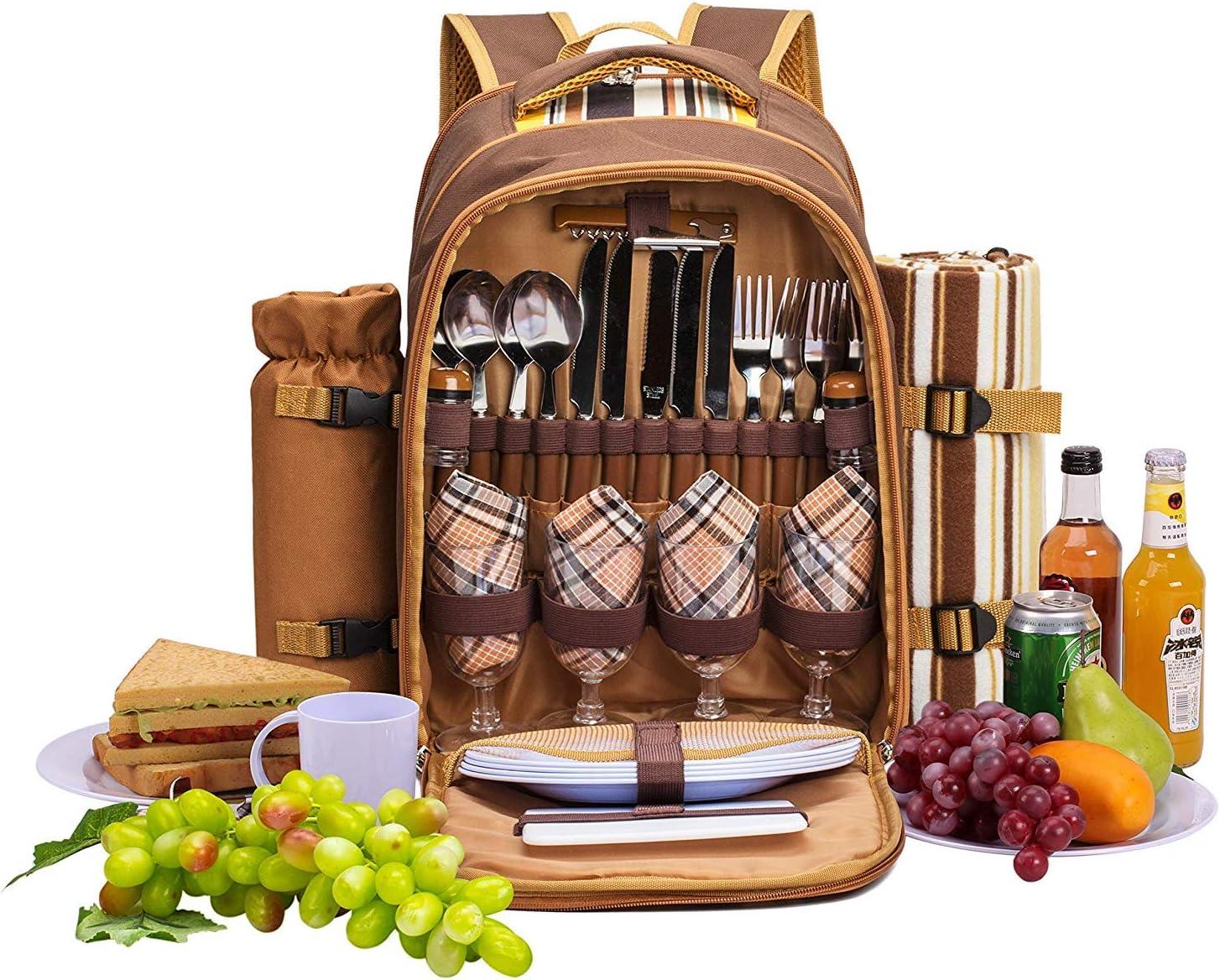 apollo walker 4 Person Picnic Backpack Hamper Cooler Bag con Juego de Mesa y Manta
