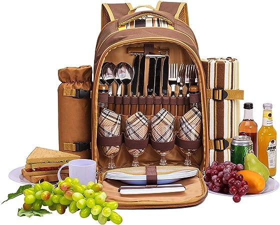 apollo walker 4 Person Picnic Backpack Hamper Cooler Bag with Tableware Set & Blanket