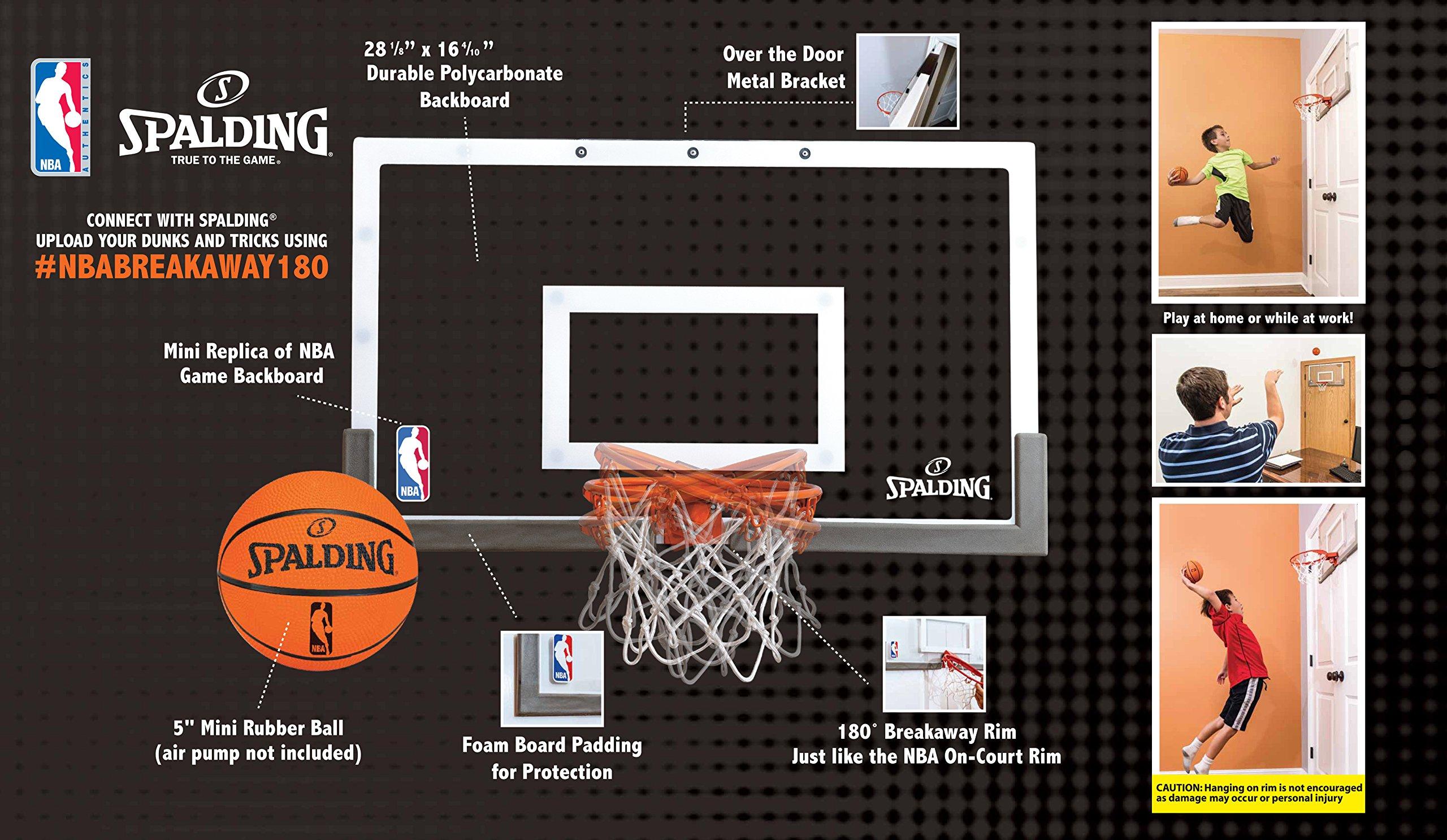 Spalding NBA 180 Breakaway Over The Door Mini Basketball Hoop