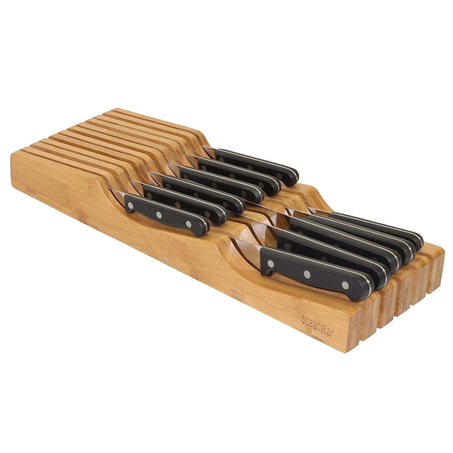 Amazon.com: Oceanstar In Drawer Bamboo Knife Organizer: Kitchen U0026 Dining