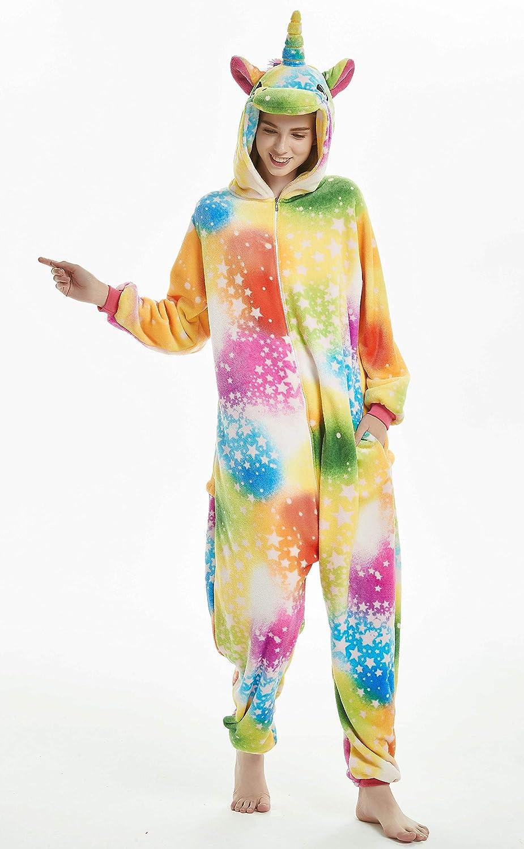JXUFUFOO Erwachsene Jumpsuit Schlafanzug Einhorn Tierkost/üm f/ür Halloween Karneval Fasching
