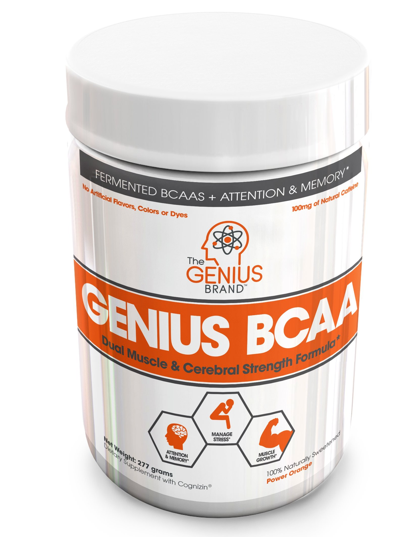 GENIUS BCAA Powder with Focus & Energy – Multiuse Natural Vegan Preworkout BCAAs for Mental Clarity and Faster Muscle Recovery, Pre, Intra and Post Workout Drink with Memory Enhancement, Orange, 21sv