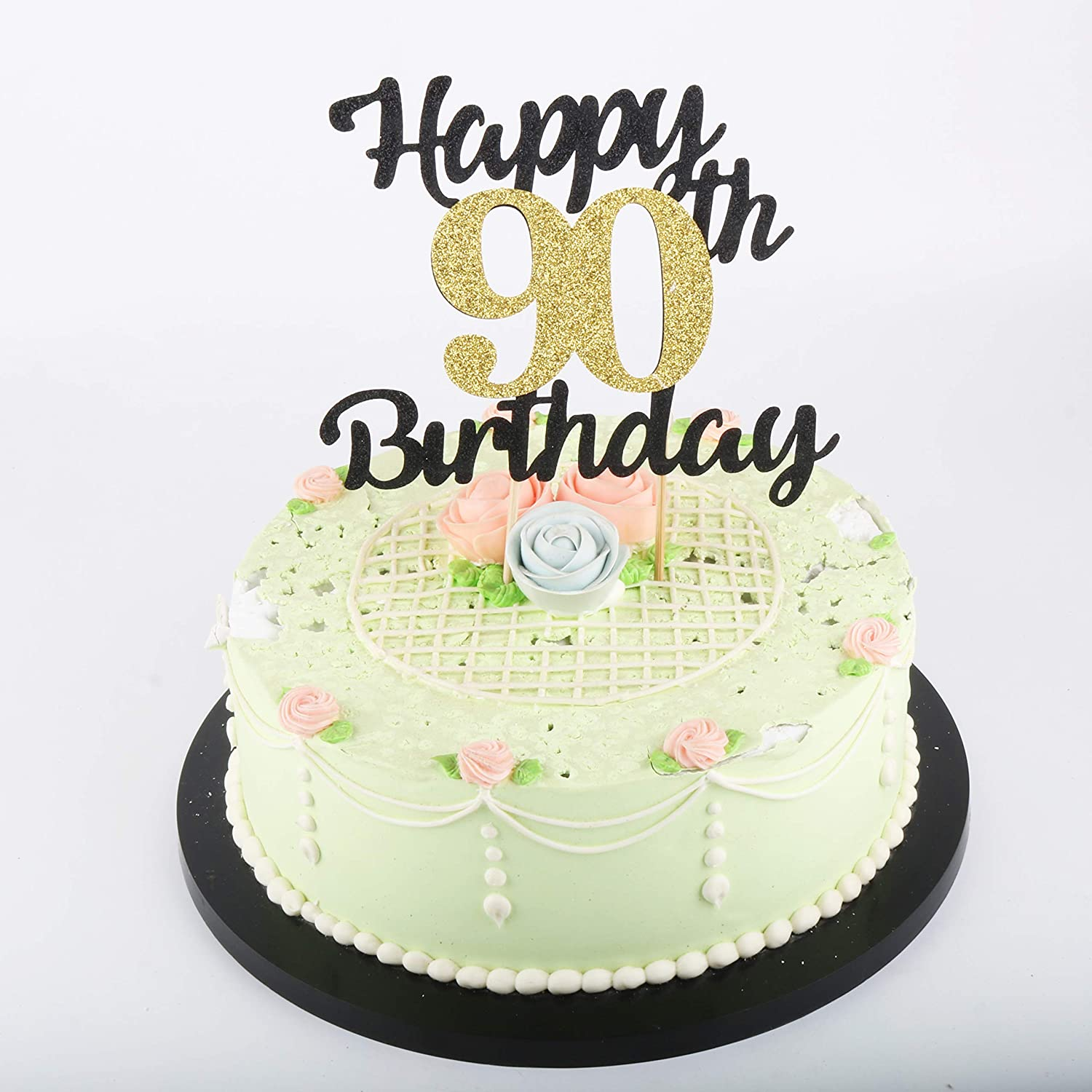 Amazon LVEUD Happy Birthday Cake Topper Black Font Golden Numbers 90th Party Decorations Toys Games