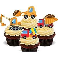 Excavadoras y camiones, niños de vehículos de construcción mezcla, – decoración para tarta para